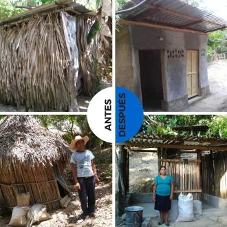 El 'antes' y 'después' de los baños en Pukte y Lanim.
